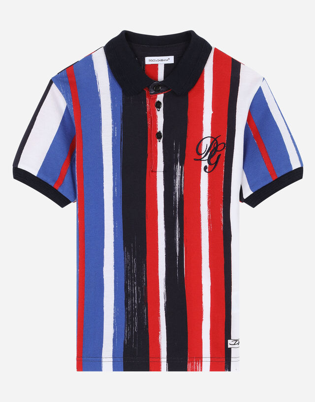 Piqué polo shirt with striped brushstroke print in Multicolor