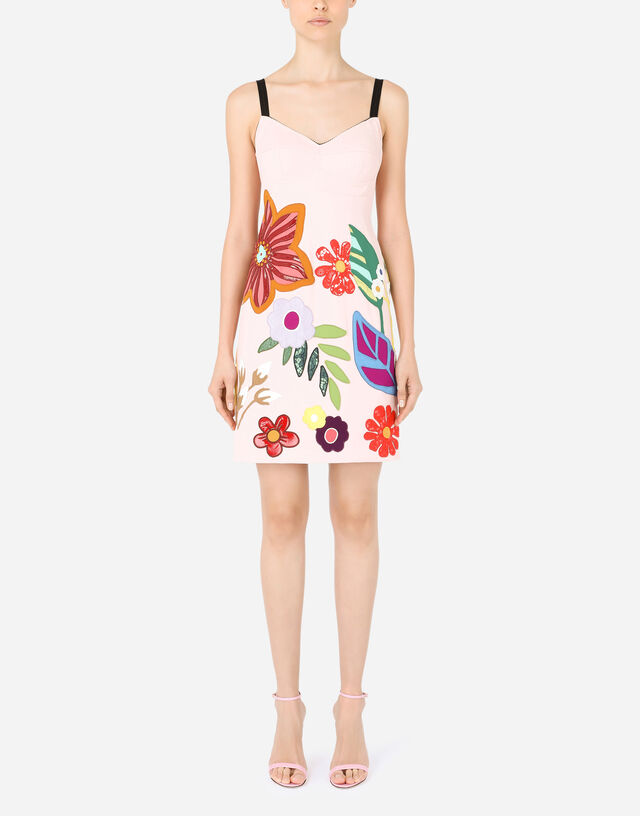 Short cady slip dress with floral patches in Pink