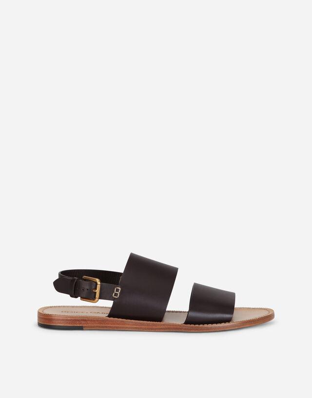 Calfskin pantheon sandals in BROWN