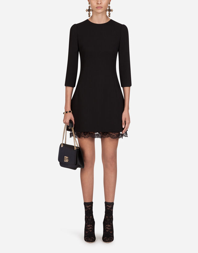 Double wool crepe short dress in BLACK