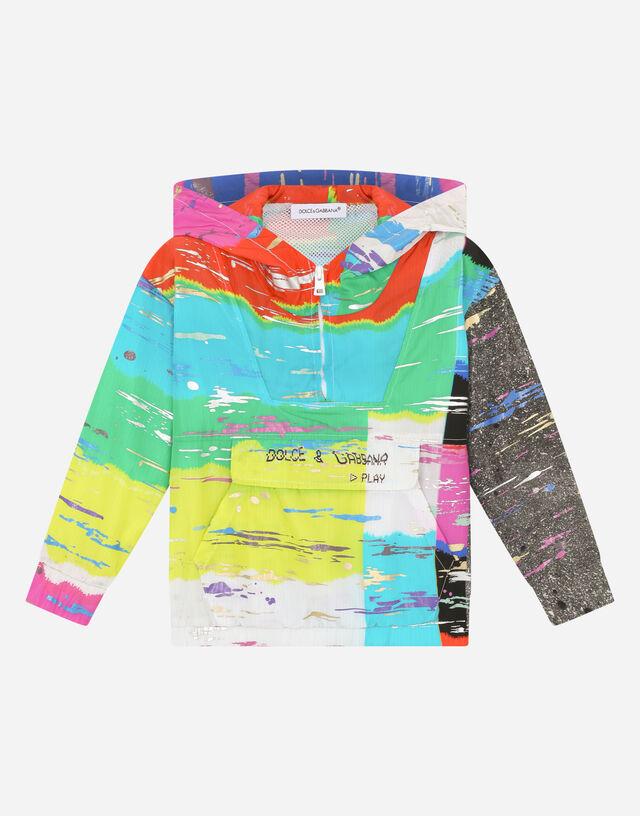 Nylon hoodie with multi-colored glitch print in Multicolor