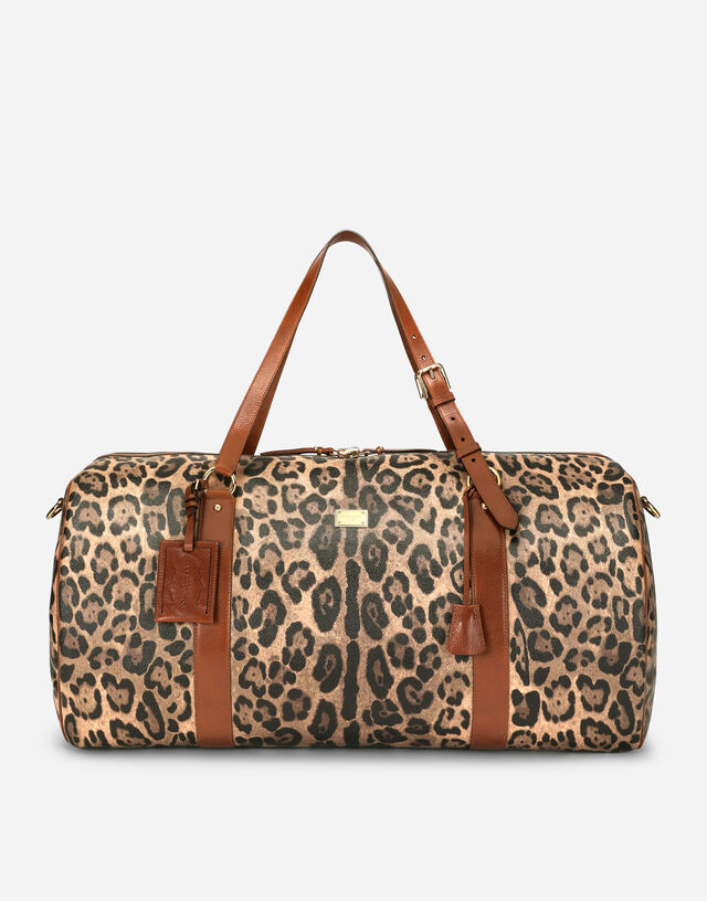 Large travel bag in leopard-print Crespo with branded plate in Multicolor