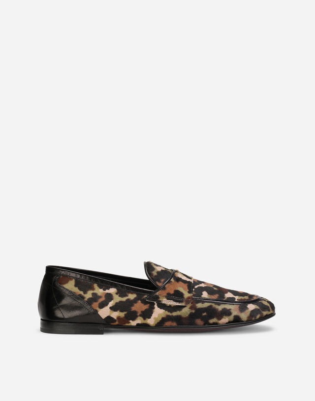 Pony hair slippers with leopard and camouflage print in Multicolor