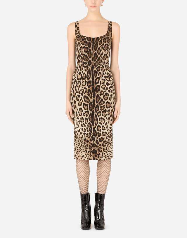 Charmeuse calf-length dress with leopard print in Multicolor