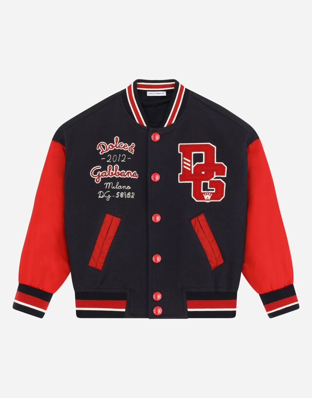 Jersey and nylon bomber jacket with DG logo patch in Multicolor