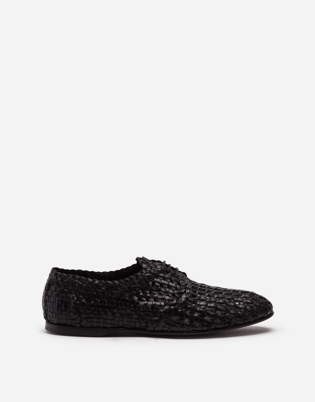 Persia woven leather derby shoes in BLACK