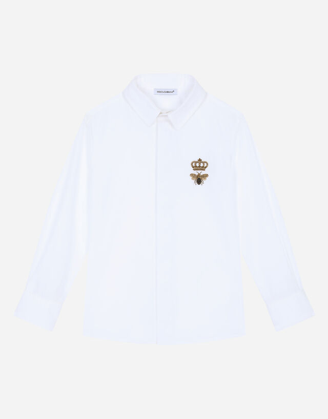 Poplin shirt with crown and bee logo in White