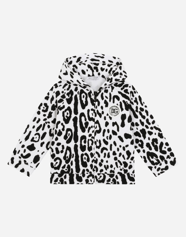 Jersey hoodie with snow-leopard print in Multicolor