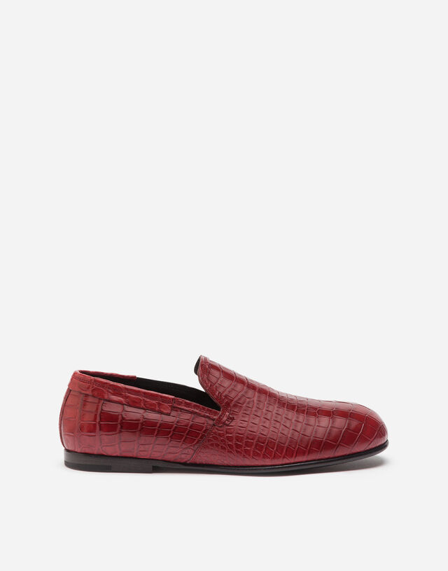 Crocodile nappa slip-on shoes in RED