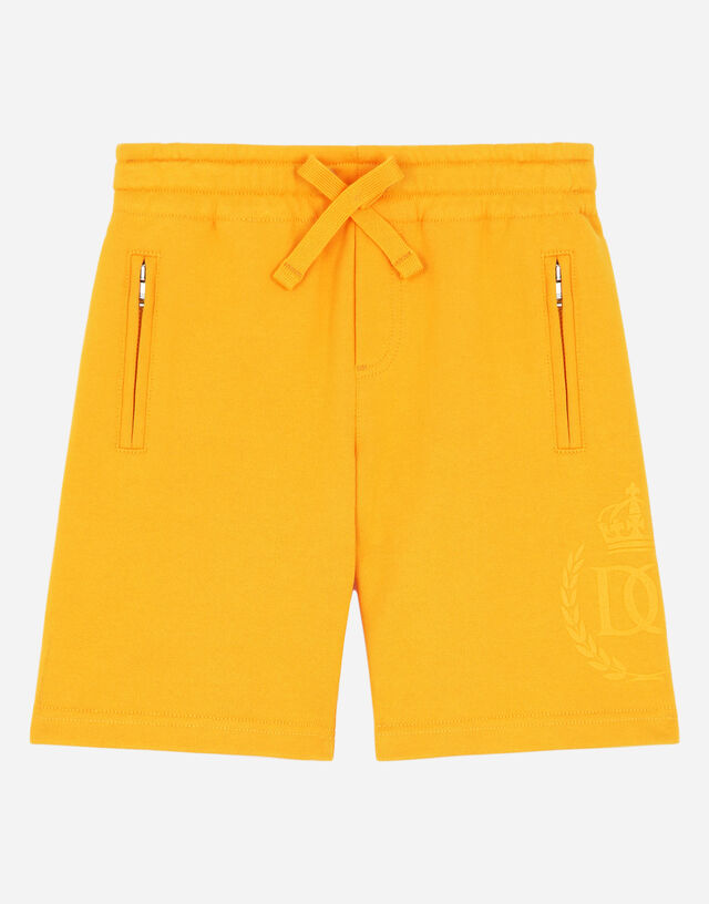 Jersey jogging shorts with DG laurel and crown print in Orange