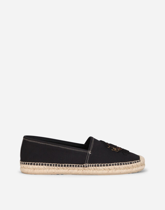 Canvas espadrilles with coat of arms embroidery in BLACK