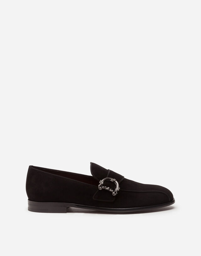 Suede loafers with baroque DG logo in BLACK