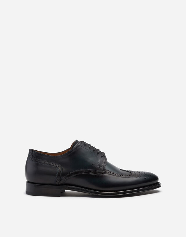 Brogue derby in giotto paint calfskin in GREEN