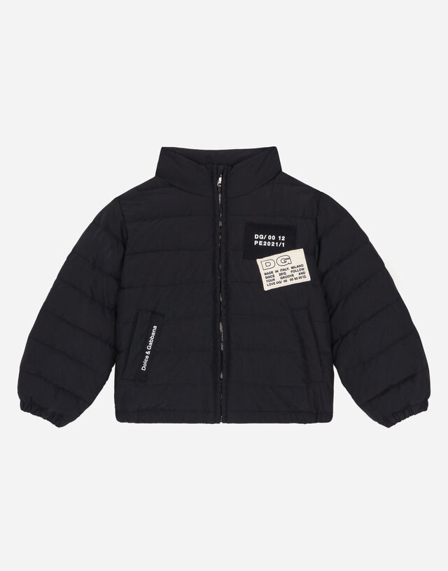 Short nylon down jacket with logo patch in Black