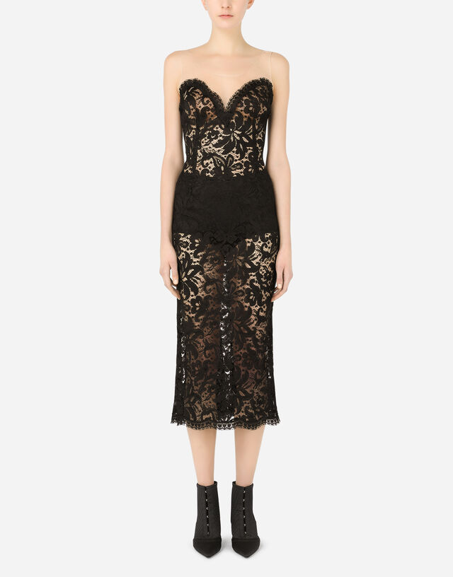 Sleeveless lace and tulle calf-length dress in Black