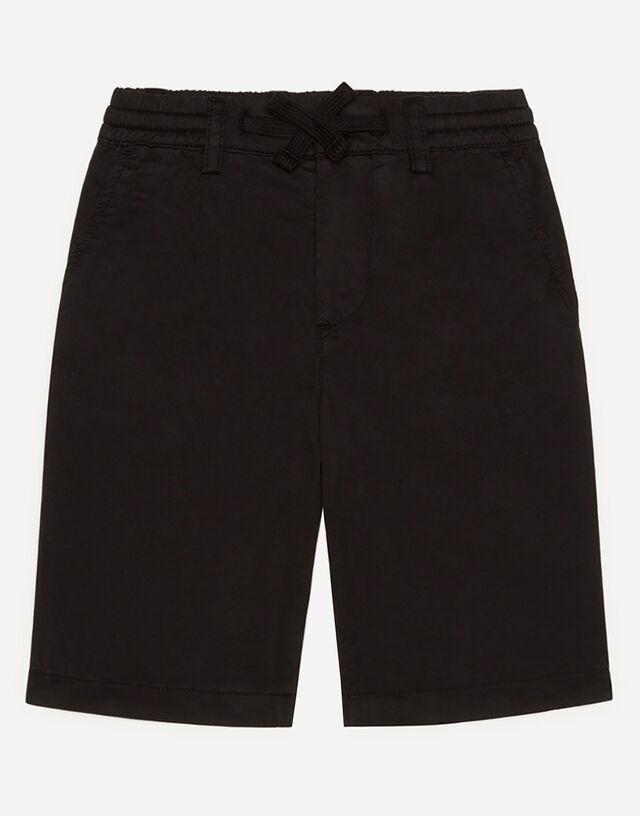 Poplin bermuda shorts with embroidered logo in Black