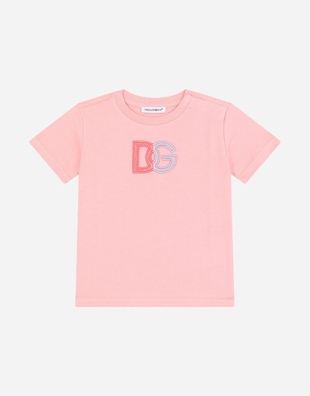Jersey T-shirt with DG patch in Pink