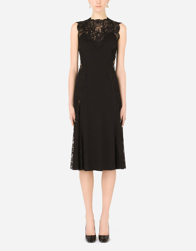 Charmeuse calf-length skirt with Chantilly lace inserts in Black