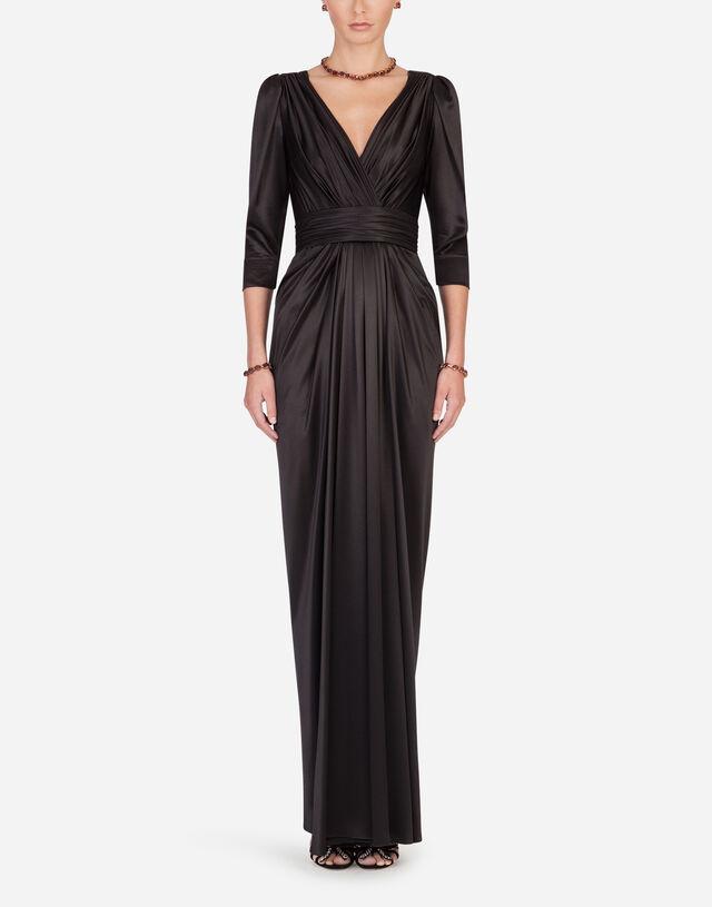 Long silk dress in BLACK