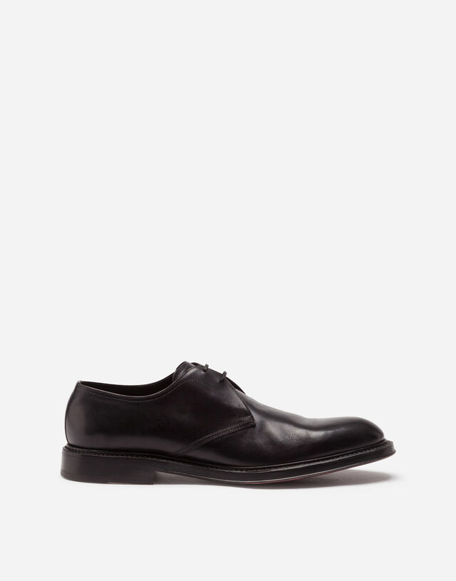 Hand-painted calfskin derby shoes in BLACK