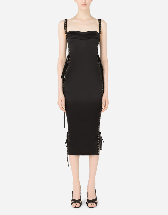 Satin calf-length dress with laces and eyelets in Black