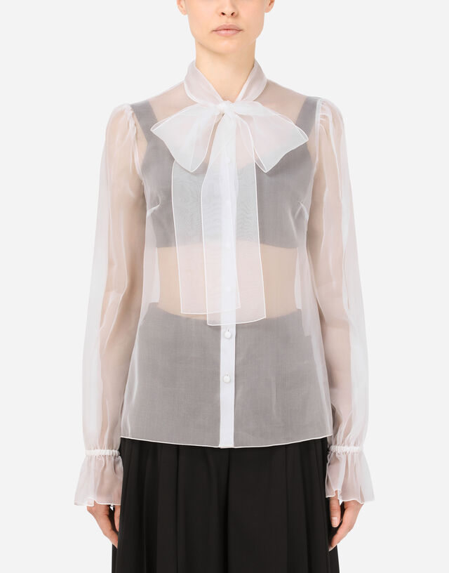 Organza pussy-bow shirt in White