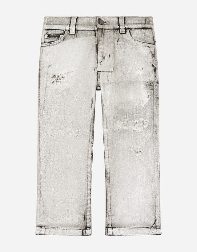 Regular-fit silver-coated jeans in Silver
