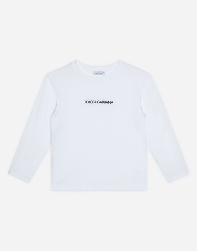Long-sleeved jersey t-shirt with logo embroidery in White