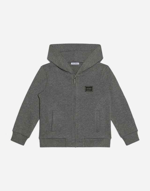 Jersey hoodie with logo tag in Grey