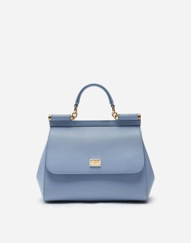 Medium Sicily handbag in dauphine leather in LIGHT BLUE