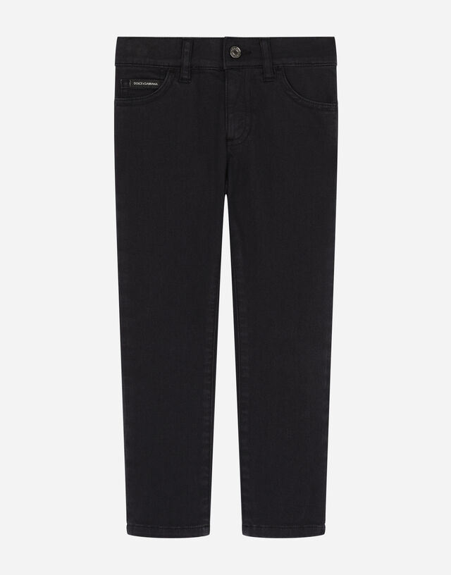 Slim-fit gabardine trousers with italian tradition print in Blue