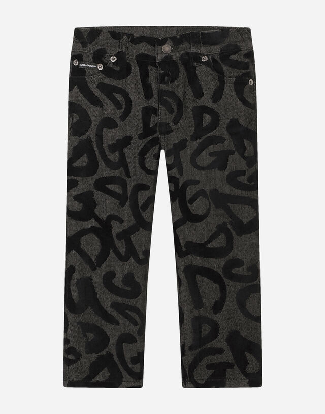 Baggy stretch jeans with flocked logo print in Multicolor