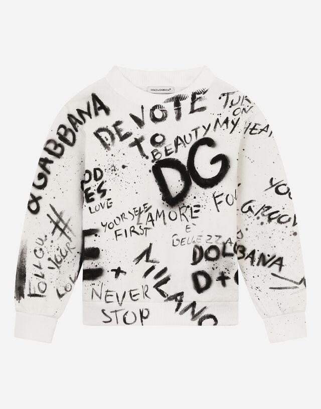Round-neck jersey sweatshirt with graffiti print in White