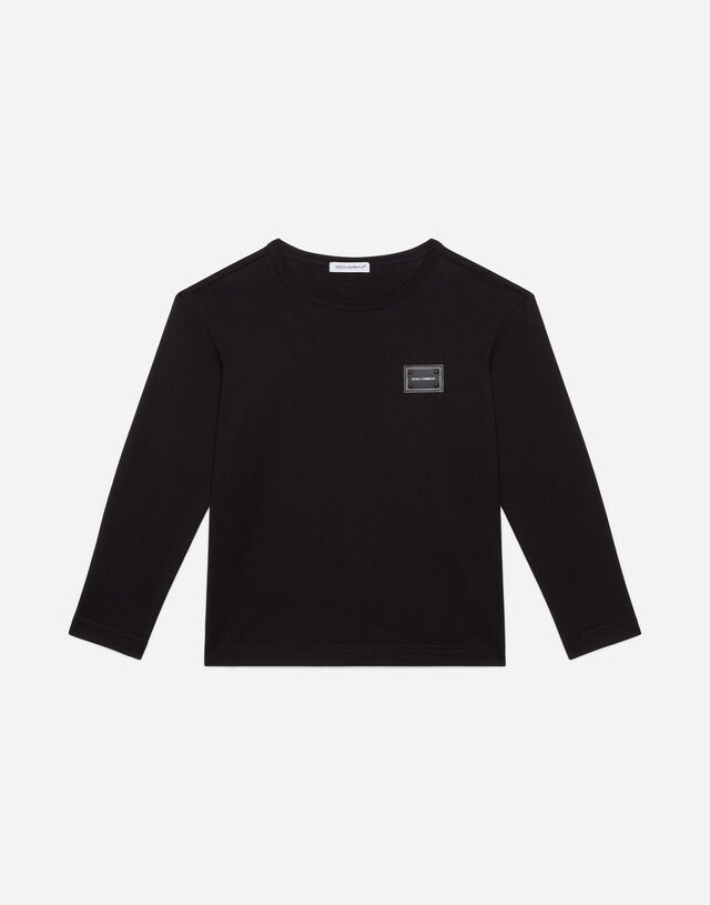 Long-sleeved jersey t-shirt with plate in Black