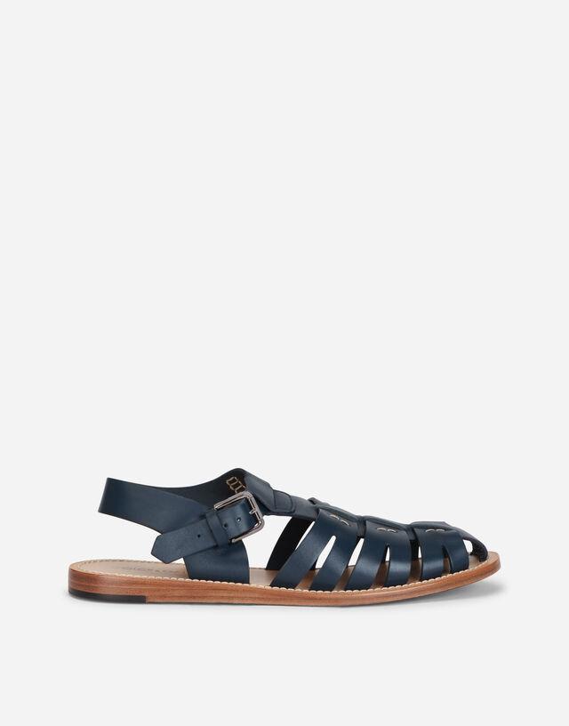 Calfskin pantheon gladiator sandals  in BLUE