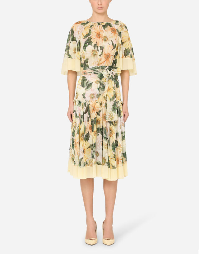 Camellia-print georgette midi dress with cape detail in FLORAL PRINT