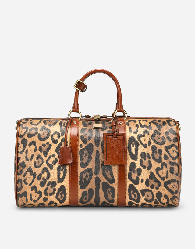 Small travel bag in leopard-print Crespo with branded plate in Multicolor
