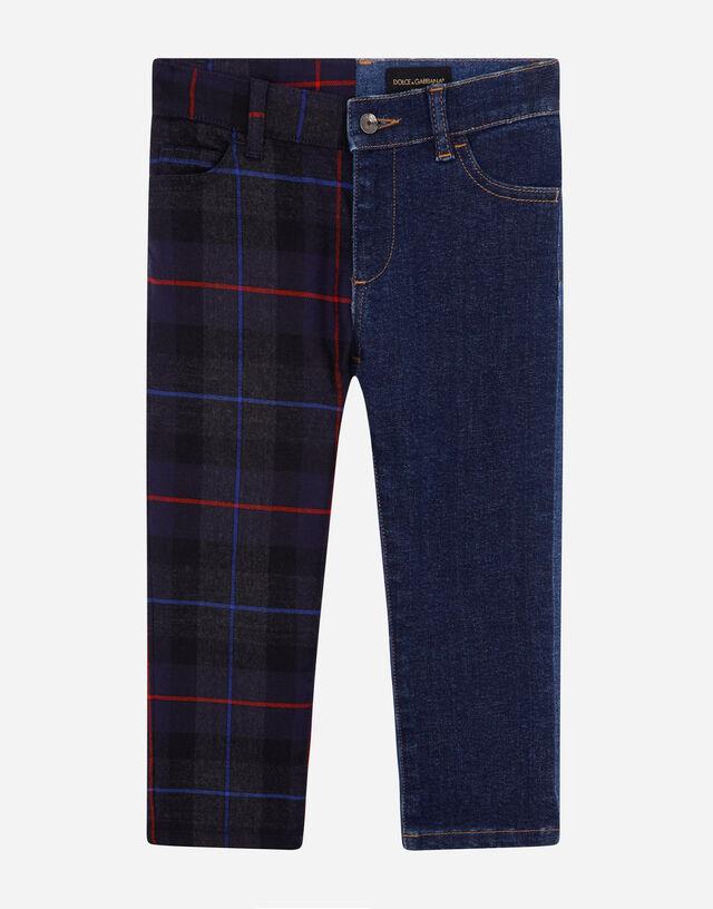 Mixed denim and tartan five-pocket pants in Multicolor
