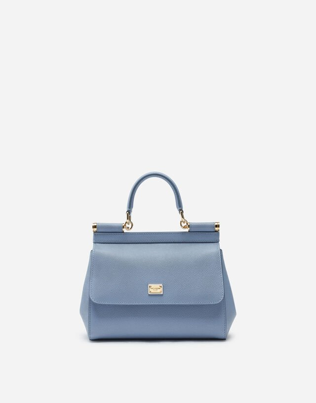 Small Sicily bag in dauphine calfskin in LIGHT BLUE
