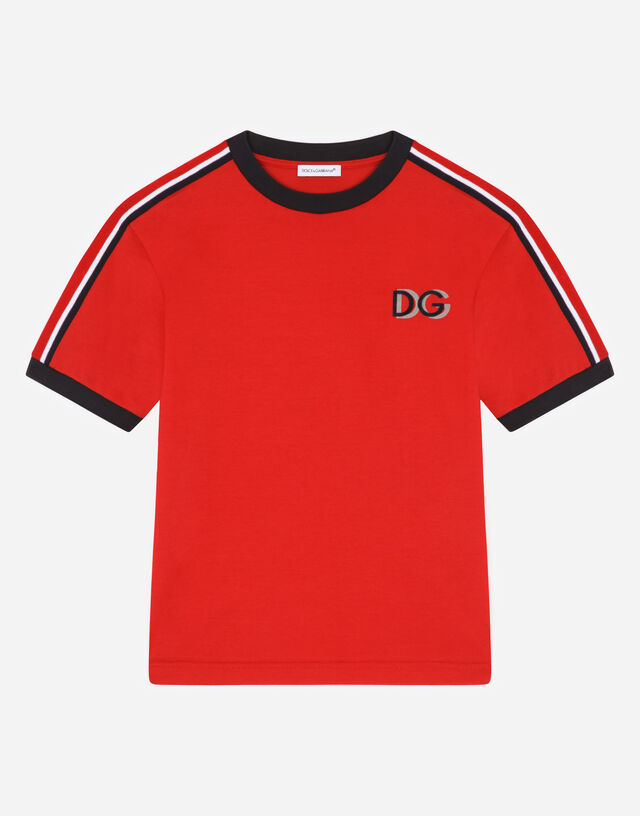 Jersey t-shirt with flocked DG detail in Bordeaux