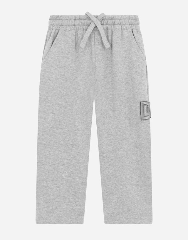Jersey jogging pants with DG logo patch in Grey