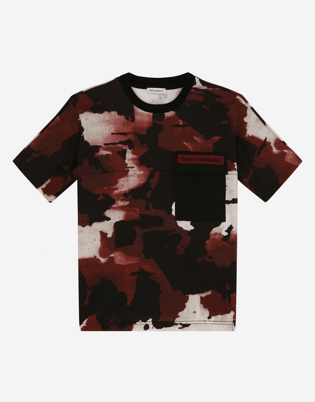 Camouflage-print jersey t-shirt with breast pocket in Multicolor