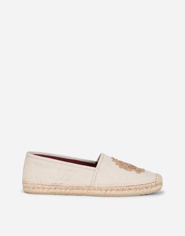 Canvas espadrilles with coat of arms embroidery in BEIGE