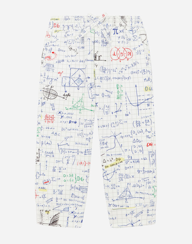 Jersey jogging pants with algebra print in Multicolor