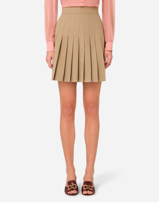 Short pleated cotton skirt  in BEIGE