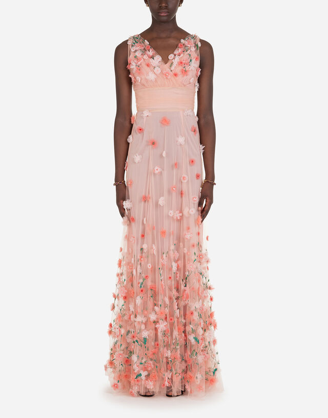 Long dress in tulle with sequins and mini hand-embroidered flowers in MULTICOLOR