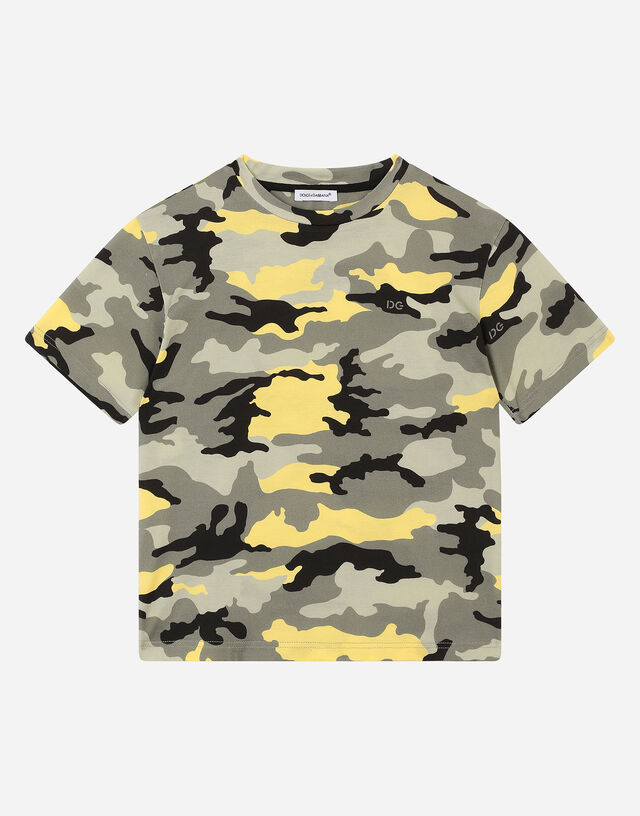 Jersey T-shirt with camouflage print in Multicolor
