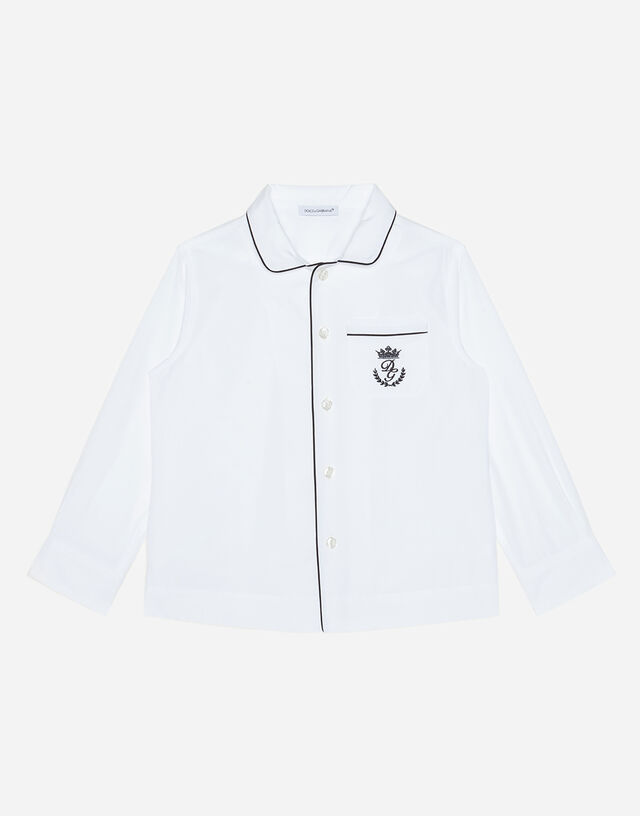 Poplin shirt with embroidered logo and piping in White