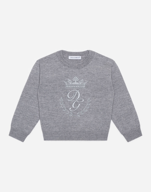 Crew neck wool sweater with heritage embroidery in Grey