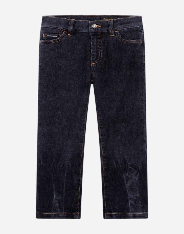 Regular-fit stretch flocked denim jeans in Blue